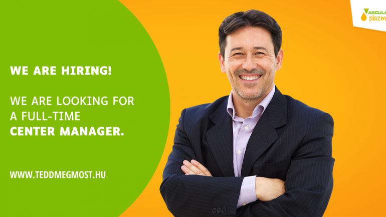 Job opportunity – Center Manager